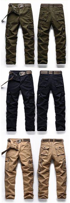 Mens Plus Size Casual Cargo Pants Solid Color Big Pockets Outdoor Cotton Trouser