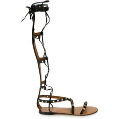 Valentino 'Rockstud' gladiator sandals (44.440 RUB) ❤ liked on Polyvore featuring shoes, sandals, black, gladiator sandals, leather sandals, leather gladiator sandals, black sandals and black gladiator sandals