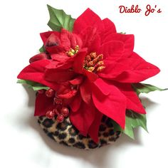 Large Poinsettia and Leopard fur fascinator, Rockabilly Vintage Christmas Party by DiabloJos on Etsy