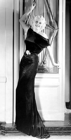 ~1930s fashion film star Jean Harlow~ 30s photo print ad long black velvet gown movie star model evening gown dress