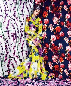 Prints Of The Season: Elisabeth Erm By Erik Madigan Heck For Harper's Bazaar March 2014 - Carolina Herrera