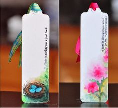 Cute!  Watercolor bookmarks by Sanketi.