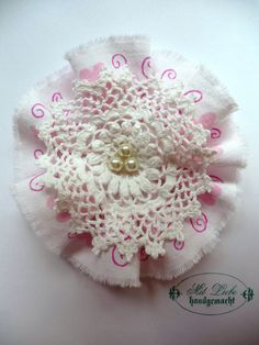 Shabby Blume Pastell Vintage Nostalgie Retro Spitze Perlen Landhaus Handarbeit