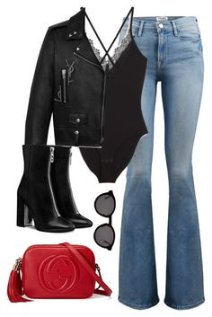 Untitled #3856 by magsmccray on Polyvore featuring polyvore fashion style Yves Saint Laurent Frame Monki Gucci Thierry Lasry clothing