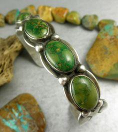 Museum Quality RARE Green Turquoise Harvey Era Navajo Early 30's Cuff Bracelet | eBay