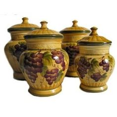 Charming Ceramic Kitchen Canister Sets | Kitchen Canisters On Grapes Kitchen