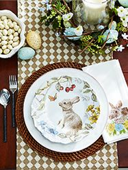Beautiful Easter Decor - Sofie the Bunny practically hops with storybook charm. If you cherished classic childhood tales about fluffy tails, you'll adore this beautifully crafted porcelain plate. Its scalloped edges and delightful illustration add a sweet touch to your springtime table, and you'll be happy ever after. - 9 USD
