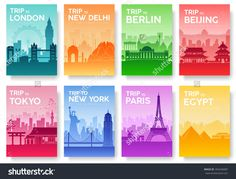 Travel Of The World Brochure With Typography Set. England Country Icon. England Country. India Country. Germany Country. China Country. Japan Country. Usa Country. France Country. City Landscape Stock Vector Illustration 394246087 : Shutterstock