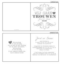 Trouwkaartje - Typografische trouwkaartje in het grijs met wit. Ontwerp of bewerk dit kaartje zelf! Met onze ontwerp tool. www.trouwkaarten-drukkerij.nl