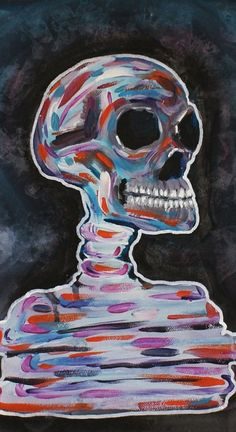 Colorful Skull Original Canvas Painting