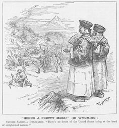 """Here's a pretty mess -- Chinese diplomats comment on America as an """"enlightened nation"""" in Thomas Nast Cartoon about the Rock Springs, Wyoming massacre of Chinese miners in Chinese American, American History, Yellow Peril, Rock Springs, Historical Society, Wyoming, The Rock, Vintage World Maps, Fiction"""