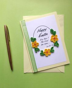 "Pale Yellow Easter Card with Ribbon and Quilled Flowers 6""x 4"" with Bible text Luke 2434 (3.50 GBP) by ToastyHugs"
