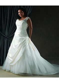 NOUVEAU! Charming Taffeta & Tulle & Satin Scoop Neckline Natural Waistline A-line Plus Size Wedding Dress