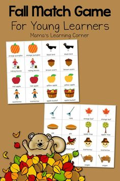 Download a free printable Fall Match Game for your young learners! Suggestions for use from toddlers through First Grade!