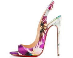 #Christian #Louboutin Dont like the flower print. Would look better in nude!