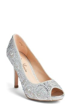 Lauren Lorraine 'Paula' Crystal Peep Toe Pump (Women)