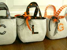 bags with drop cloth and Halloween themed fabric
