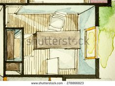 Watercolor decorative ink attractive traditional drawing method used for graphic representation of top floor plan real estate property, showing cozy home office desk concept in isometric artistic way