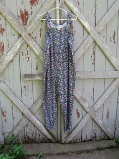 vintage 1980s floral cotton overalls S M L by hippiejo74 on Etsy
