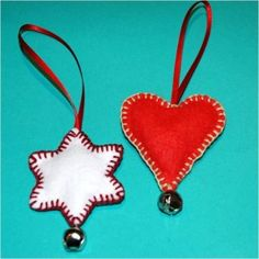 Easy felt ornaments. Cute and make lovely little gifts during the Holiday Season too.