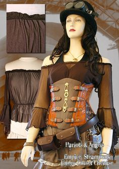Totally perfect blouse. Wish they had it in gold or burgundy. Brown Steampunk Victorian Sheer Under Corset by Harlotsandangels, $31.99
