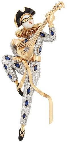 Platinum, Gold, Diamond, Sapphire and Enamel Court Jester Brooch, Oscar Heyman Bros.