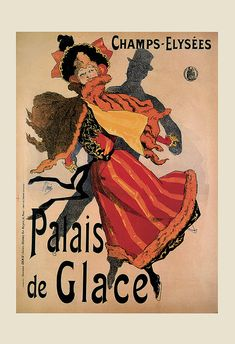 Vintage ICE SKATING Art Nouveau Poster PARIS by EncorePrintSociety