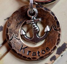 Anchor Dog Tag (Down By The Sea) Ocean Pet ID Tag -Waves- by FetchAPassionTags on Etsy