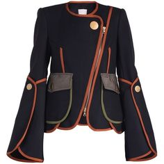Peter Pilotto Military Jacket (11.755 NOK) ❤ liked on Polyvore featuring outerwear, jackets, zipper jacket, military jacket, wool field jacket, wool jacket and navy jackets