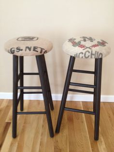 Recycled Coffee Bean Sack Bar Stool Set (2) on Etsy, $167.60 AUD