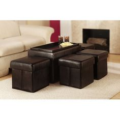 Convenience Concepts Manhattan Storage Bench With 4 Ottomans And Wood Serving…
