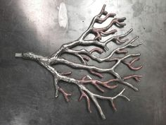 Stainless steel and copper sample from large coral sculpture screen by Arangel metalwork