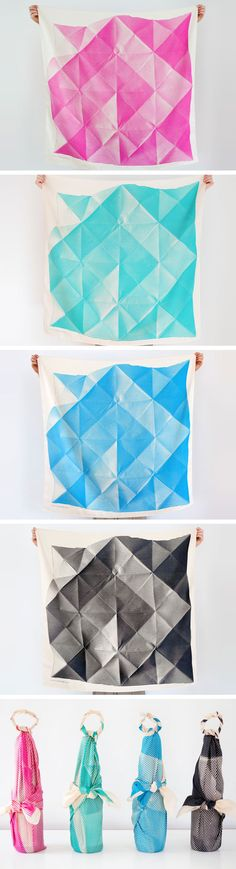 Discover furoshiki, a traditional Japanese wrapping cloth with many uses. These colorful, origami-inspired furoshiki are from TheLinkCollective on Etsy – see more in their shop. #EtsyFinds