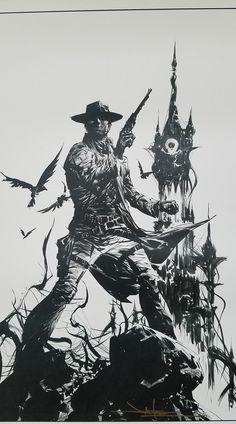 Setét Torony tetkó Dark Tower Comics, Dark Tower Art, The Dark Tower Series, Dark Tower Tattoo, Stephen King Tattoos, Western Tattoos, Dream Fantasy, West Art, Ink Illustrations