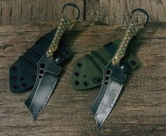 n690 Rustic Finish, Handles - Fishnet & Hessian Micarta, Sheaths - Kydex with Pull the Dot Soft Loops & Shock Cord ! S