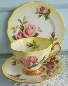 Pretty tea cup, saucer and bread plate