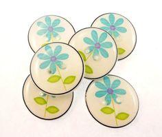 6 Soft Blue Flower Button. Handmade Buttons for by buttonsbyrobin
