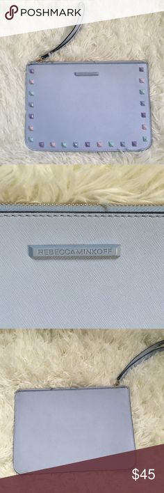Rebecca Minkoff Blue Studded Clutch This is SO pretty in person. Gorgeous light blue color with lavender undertones. It's leather. Pastel studs. It fits a large wallet, keys, lipstick, and more! 11 inches long and 8 inches high. NO TRADES PLEASE Rebecca Minkoff Bags Clutches & Wristlets