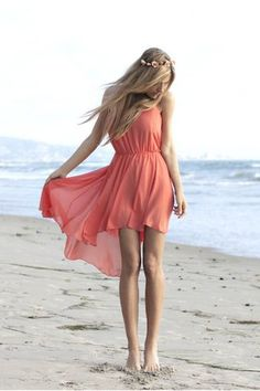 High-low dress. These seem to be in style right now :)