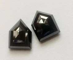 2 Pcs Black Moissanite Shield Fancy Cut Diamond Flat Back