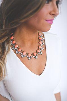 Dottie Couture Boutique - Coral Gemstone Necklace , $12.00 (http://www.dottiecouture.com/coral-gemstone-necklace/)
