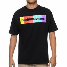 A guy from The Hundreds walks into a Color Bar tee shirt for guys from The Hundreds and instantly has great style. This standard fit guys short sleeve tee shirt features a black colorway, a custom The Hundreds Color Bar logo screen print graphic in neon colors at the chest and a small solid bomb logo graphic at the upper back. No joke, the Color Bar black Tee will launch you into comfortable style and fresh looks from The Hundreds.