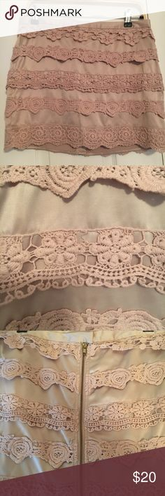 Silk crochet lace trim skirt Dusty rose/pink silky cricket trim skirt from Forever 21! Super beautiful and cute with a bralette!! Forever 21 Skirts Mini
