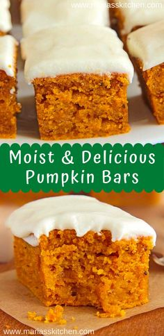 Easy Pumpkin Bars with Cream Cheese Frosting Recipe - Maria's Kitchen Dessert Simple, Bon Dessert, Fall Dessert Recipes, Köstliche Desserts, Fall Recipes, Easy Dessert Bars, Pumpkin Cream Cheese Bars, Easy Cream Cheese Frosting, Easy Cream Cheese Desserts