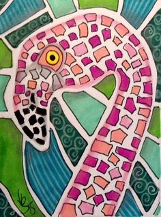 "Aceo Original   ""MOSAIC FLAMINGO""  pencil/ink  #OutsiderArt"