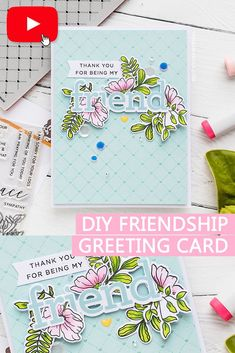 "Spring Inspired Friendship Greeting Card with Simon Says Stamp featuring ""Moments Of Grace"" stamps Copic Sketch Markers, Friendship Cards, Altenew, Simon Says Stamp, Mix Media, Ink Pads, Card Sketches, Flower Cards, Cool Cards"