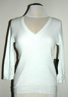 Lauren Ralph Lauren Women's Classic Ribbed V-Neck Sweater White Large $69.50 NWT #LaurenRalphLauren #VNeck