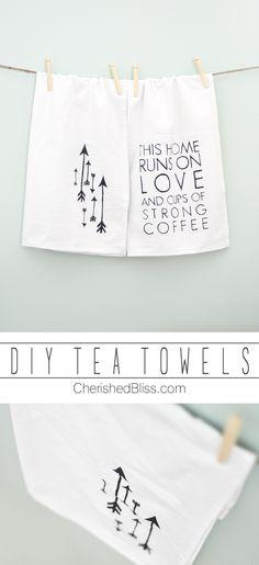 DIY Arrow Tea Towels, simple tutorial