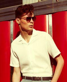 Menswear Diaries: Cuban Collar Cool, retro style sunglasses and a retro vintage fashion style - . Fashion 60s, Modern Mens Fashion, Mens Fashion Blog, Trendy Fashion, 1950s Fashion Menswear, Fashion Ideas, 1950s Mens Fashion Casual, Vintage Fashion Men, Trendy Clothing