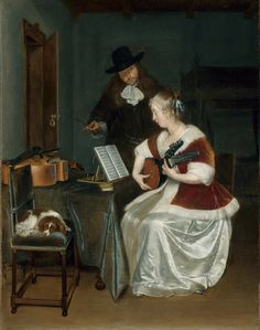 """Gerard ter Borch """"The Music Lesson"""", 1670 (The Netherlands, Baroque / Dutch Golden Age, cent. Gabriel Metsu, Dutch Golden Age, Chicago Art, Dutch Painters, Dutch Artists, Art Institute Of Chicago, Classic Image, Caravaggio, Music Lessons"""
